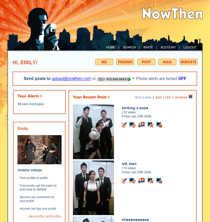 NowThen - User Page